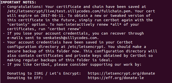 Successfully created SSL Certificates for your site using CERTBOT CA.