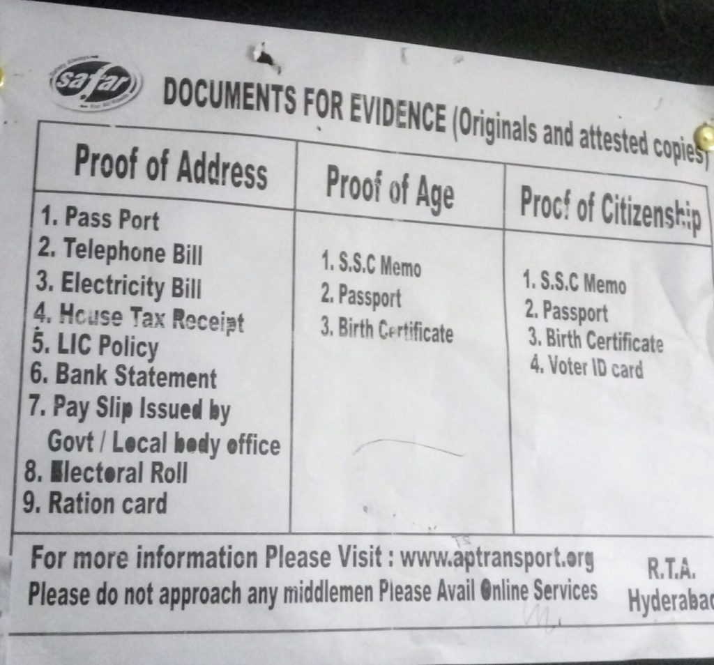 New vehicle registration valid Address proofs